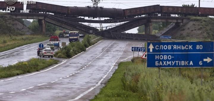 Взорванная железная дорога в Славянске 2014